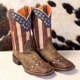 American Flag Cowgirl Boots Square Toe for Women