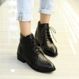 Black Lace Up Ankle Boots Low Heel