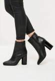 Formal Black Lace Up Ankle Boots low heel Women