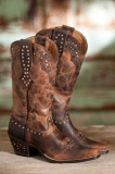 Rhinestone Leather Cowgirl Boots