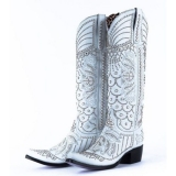 White Cowgirl Boots with Rhinestones