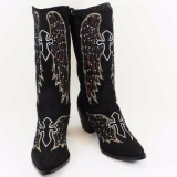 Black Cowgirl Boots with Rhinestones