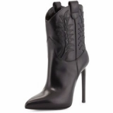 Black High Heel Cowgirl Boots