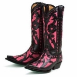Hot Pink and Black Cowgirl Boots