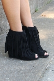 Black Fringe Wedge Ankle Boots