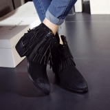Womens Black Fringe Ankle Boots