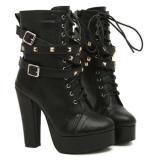 Fashionable black winter boots women