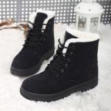 Flat black winter boots women