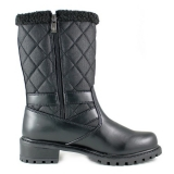 Quilted black winter boots for women
