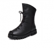 Womens Black Leather Winter Boots