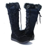 Womens black winter boots with fur