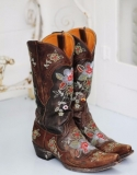 Brown Cowgirl Boots with Flowers
