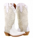 Brown Cowgirl Boots with White Lace