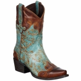 Brown and Turquoise Cowgirl Boots