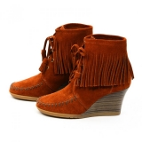 Brown Ankle Boots Fringe with Wedge