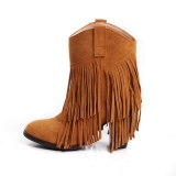 Brown Ankle Boots with fringe