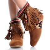 Brown Fringe Ankle Boots Images