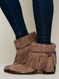 Brown Leather Ankle Boots with Fringe