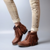 Brown Low Ankle Boots with Fringe
