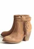 Brown Suede Ankle Boots with Fringe