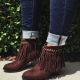 Dark Brown Ankle Boots with fringe