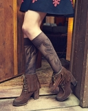 Lace Up Brown Fringed Ankle Boots