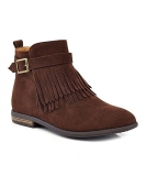 Ladies Brown Fringe Ankle Boots