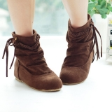 Slouch Brown Fringe Ankle Boots