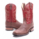Red square toe cowgirl boots