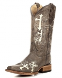 Squared Toe Cowgirl Boots with Cross