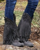 Black Cowgirl Fringe Boots