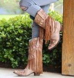 Corral Tan Fringe Cowgirl Boots