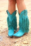 Teal Fringe Cowgirl Boots