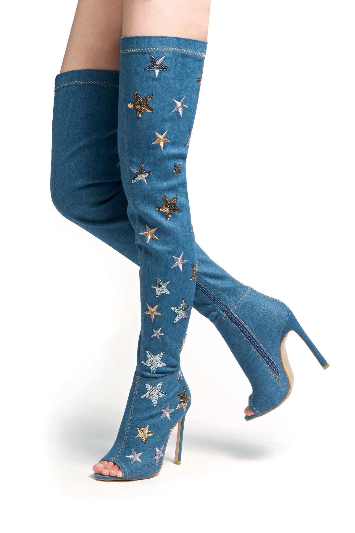 denim thigh high boots online boots