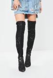 Black Denim Thigh High Boots