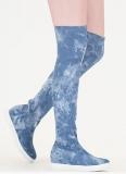 Denim Thigh High Boots Flat
