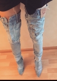 Denim Thigh High Boots Images