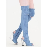 Denim Thigh High Boots Pictures