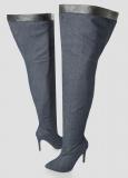 Denim Thigh High Boots Plus Size