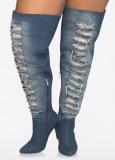 Denim Thigh High Boots Wide Calf