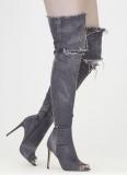 Denim Thigh High Boots with Heel