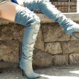 Distressed Thigh High Boots Denim