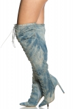 Lace Up Denim Thigh High Boots