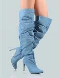 Ladies Thigh High Boots Denim