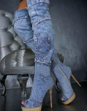Thigh High Boots Denim
