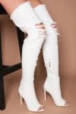 White Denim Thigh High Boots