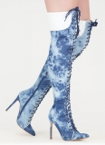 Women's Denim Thigh High Boots