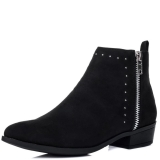 Black Suede Flat Ankle Boots