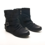 Ladies Black Flat Ankle Boots with Zipper