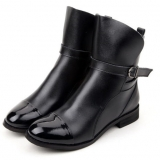 Womens Black Leather Flat Ankle Boots
